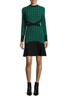 Shoshanna Long-Sleeve Two-Tone Dress