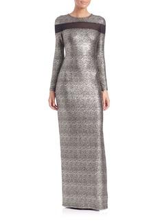 Shoshanna Mesh-Insert Sparkle Gown