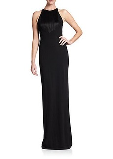 Shoshanna MIDNIGHT Irina Fringed Gown
