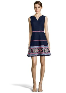 Shoshanna navy and neon pink cotton jacquard 'Alexandria' embroidered dress