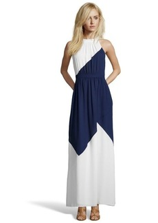 Shoshanna navy and white colorblock chiffon 'Darren' maxi dress