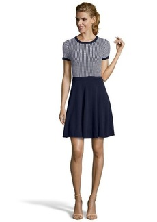 Shoshanna navy and white stretch knit 'Hattie' sweater dress