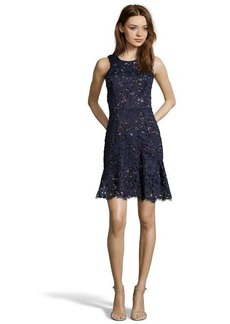 Shoshanna navy lace confetti 'Eden' fit and flare dress