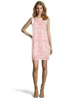 Shoshanna neon coral sequined chiffon 'Najia' shift dress