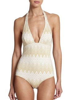 Shoshanna One-Piece Halter Swimsuit