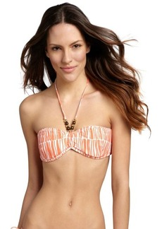 Shoshanna orange and white bamboo stripe bandeau top