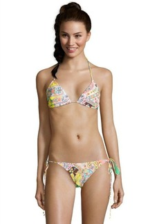 Shoshanna orange and yellow floral stretch nylon 'Bohemian' string bikini bottom