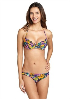 Shoshanna orange 'Watercolor' floral bikini bottoms