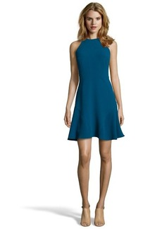 Shoshanna peacock blue stretch crepe 'Behati' fit and flare dress