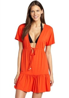 Shoshanna persimmon jersey tie waist dress coverup