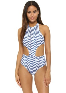 Shoshanna Pleated Waves Sporty Monokini