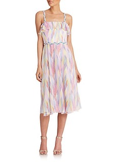 Shoshanna Printed Ruffle-Top Midi Dress