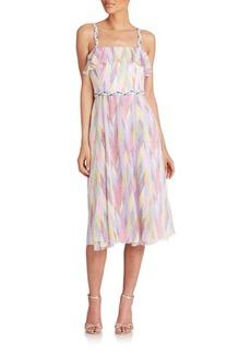 Shoshanna Printed Ruffle-Top Midi Dress