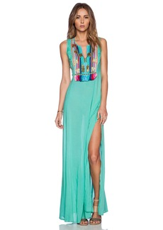 Shoshanna Rainbow Fringe Maxi Dress
