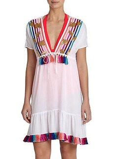 Shoshanna Rainbow-Fringe Peasant Dress