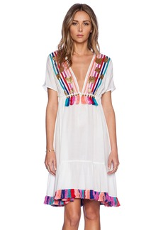 Shoshanna Rainbow Fringe Peasant Dress