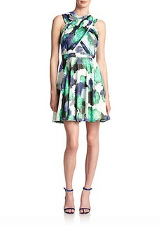 Shoshanna Randi Rose-Print Chiffon Dress