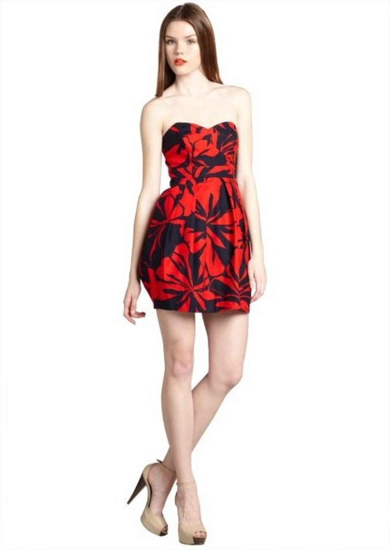 Shoshanna red and navy fiji floral stretch cotton 'Megan' strapless dress