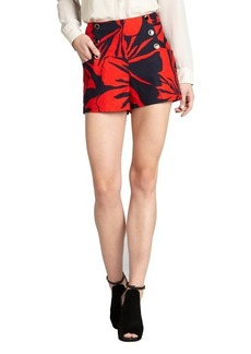 Shoshanna red floral print stretch cotton 'Cadence' high waist shorts