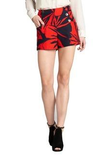 Shoshanna red floral print stretch cotton 'Cadence' high waist shorts