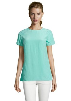 Shoshanna robins egg silk woven 'Mariana' crewneck short sleeve blouse