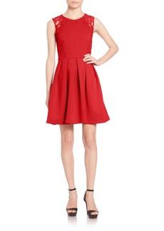 Shoshanna Salma Lace-Trimmed Scuba Fit & Flare Dress