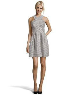 Shoshanna sand and navy striped crepe 'Valencia' fit and flare dress