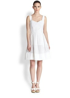 Shoshanna Serena Grasscloth & Eyelet Dress