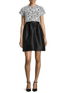 Shoshanna Short-Sleeve Lace-Bodice Dress