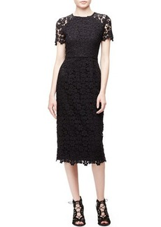 Shoshanna Short-Sleeve Lace Midi Sheath Dress  Short-Sleeve Lace Midi Sheath Dress