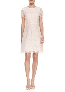 Shoshanna Short Sleeve Petal Lace Cocktail Dress, Petal Pink