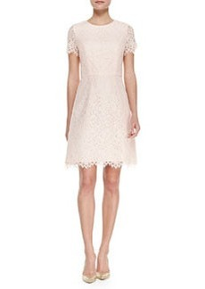 Shoshanna Short Sleeve Petal Lace Cocktail Dress, Petal Pink