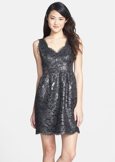 Shoshanna 'Sierra' Foiled Lace Fit & Flare Dress