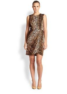 Shoshanna Silk-Blend Leopard Print Dress