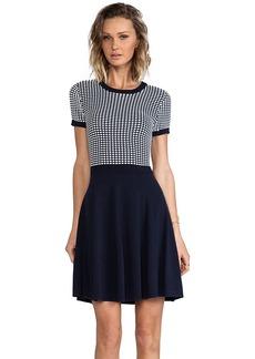 Shoshanna Silk Squares Hattie Sweater Dress in Navy