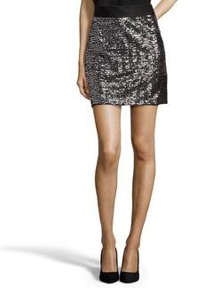 Shoshanna silver sequined nylon mesh 'Gail' mini skirt