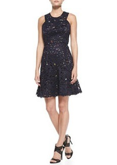 Shoshanna Sleeveless Confetti Lace Overlay Dress