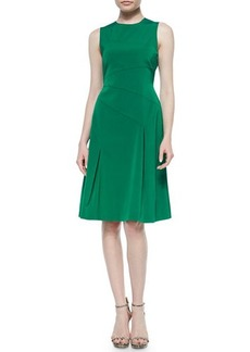 Shoshanna Sleeveless Crewneck Tea-Length Dress  Sleeveless Crewneck Tea-Length Dress