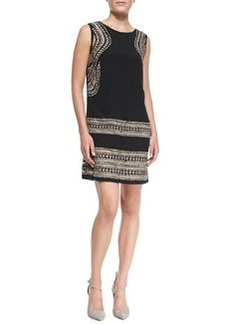Shoshanna Sleeveless Geo Cutout-Print Shift Dress