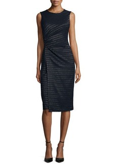 Shoshanna Sleeveless Metallic-Stripe Sheath Dress