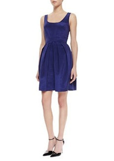 Shoshanna Sleeveless Pleated Skirt Dress, Ink Blue