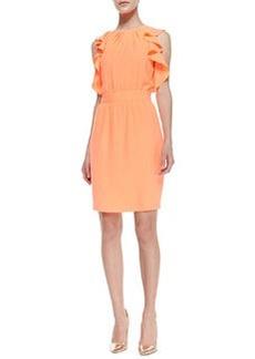 Shoshanna Sleeveless Ruffle-Detail Dress