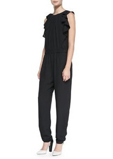 Shoshanna Sleeveless Ruffle-Side Jumpsuit