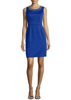 Shoshanna Sleeveless Scoop-Neck Beaded Sheath Dress