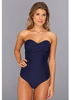 Shoshanna Solid Twist Bandeau One-Piece
