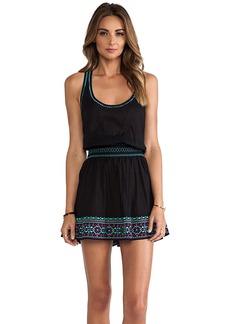 Shoshanna St. Tropez Embroidery Smock Waist Tank Dress in Black