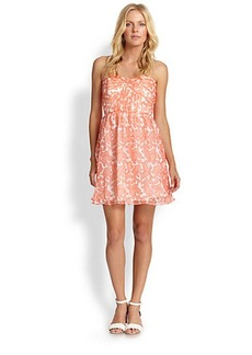 Shoshanna Strapless Coral Reef Chiffon Dress
