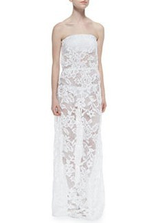 Shoshanna Strapless Lace Drawstring Maxi Dress