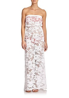 Shoshanna Strapless Lace Maxi Dress
