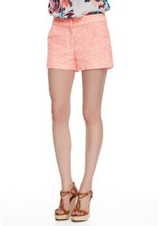 Shoshanna Textured Jacquard Shorts, White/Coral